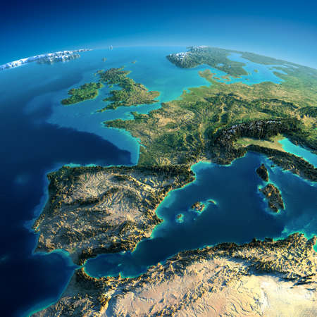 map of europe: Highly detailed planet Earth in the morning  Exaggerated precise relief lit morning sun  Part of Europe, the Mediterranean Sea Stock Photo
