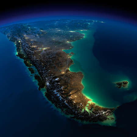 Paraguay: Terre tr�s d�taill�e, �clair�e par la lune La lueur des villes met en lumi�re le terrain exag�r�e d�taill�e et de l'eau translucide, des oc�ans