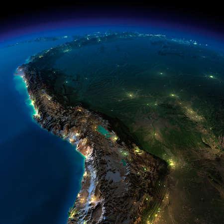 詳細な誇張された地形の上の都市の小屋光の輝きと海洋の半透明な水に月明かりで照らされた非常に詳細な地球 写真素材