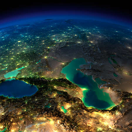 exaggerated: Highly detailed Earth, illuminated by moonlight  The glow of cities sheds light on the detailed exaggerated terrain and translucent water of the oceans