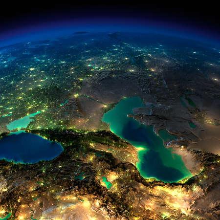 Zeer gedetailleerde aarde, verlicht door het maanlicht De gloed van steden werpt licht op de gedetailleerde overdreven terrein en doorzichtige water van de oceanen