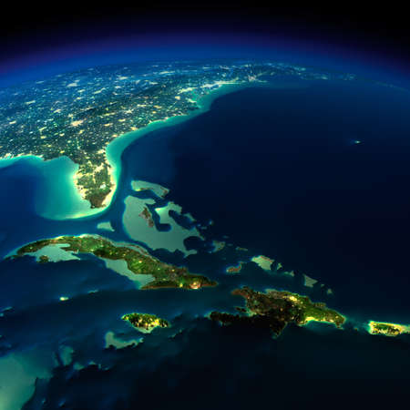 Highly detailed Earth, illuminated by moonlight  The glow of cities sheds light on the detailed exaggerated terrain and translucent water of the oceans   Archivio Fotografico