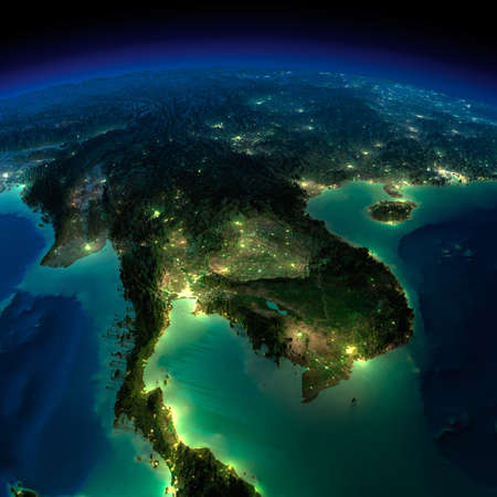 bangladesh: Highly detailed Earth, illuminated by moonlight  The glow of cities sheds light on the detailed exaggerated terrain and translucent water of the oceans