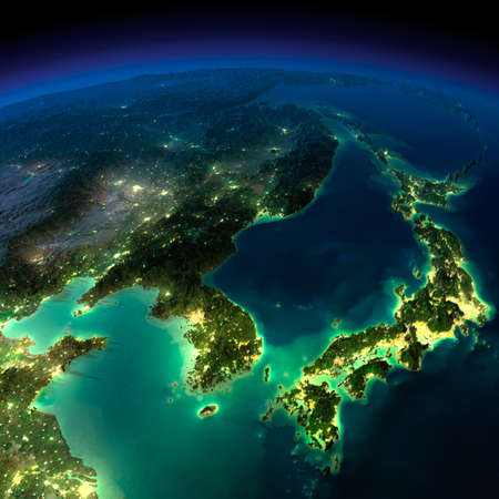 korea: Highly detailed Earth, illuminated by moonlight  The glow of cities sheds light on the detailed exaggerated terrain and translucent water of the oceans