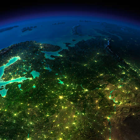 russia map: Highly detailed Earth, illuminated by moonlight  The glow of cities sheds light on the detailed exaggerated terrain and translucent water of the oceans