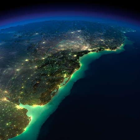 Sehr detaillierte Erde, vom Mondlicht beleuchtet Das Leuchten der Städte wirft ein Licht auf die detaillierten übertrieben Gelände und transluzenten Wasser der Ozeane