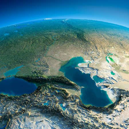 Planeta Tierra altamente detallado en la mañana exageró el alivio precisa iluminado sol de la mañana detallada Cáucaso Tierra Foto de archivo - 26509249