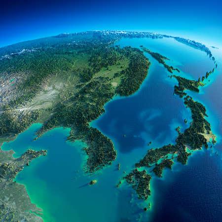 朝は誇張された正確な救済点灯している朝の太陽の詳細な地球韓国と日本の非常に詳細な惑星地球