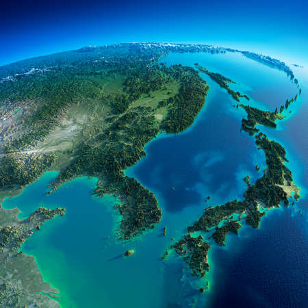 exaggerated: Highly detailed planet Earth in the morning  Exaggerated precise relief lit morning sun  Detailed Earth  Korea and Japan   Stock Photo