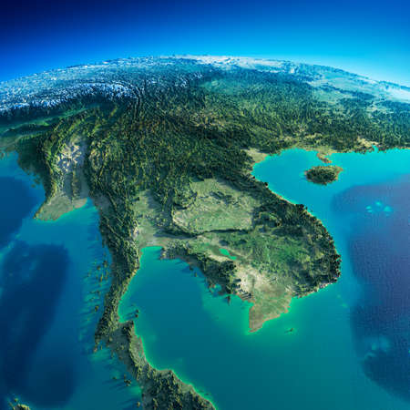Highly detailed planet Earth in the morning  Exaggerated precise relief lit morning sun  Detailed Earth  Indochina peninsula  Stock Photo