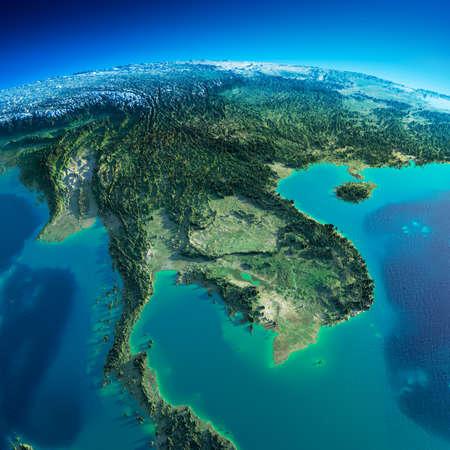 topografia: Planeta Tierra altamente detallado en la mañana exageró el alivio precisa iluminado sol de la mañana detallada península Indochina Tierra
