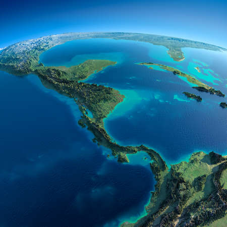 caribbean climate: Highly detailed planet Earth in the morning  Exaggerated precise relief lit morning sun  Detailed Earth  The countries of Central America  A Stock Photo