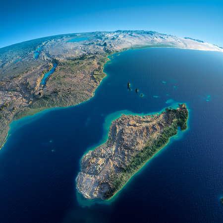 Zeer gedetailleerde planeet Aarde in de ochtend Overdreven precieze verlichting verlicht ochtendzon gedetailleerde aarde Afrika en Madagaskar Stockfoto