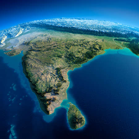 sri: Highly detailed planet Earth in the morning  Exaggerated precise relief lit morning sun  Detailed Earth  India and Sri Lanka