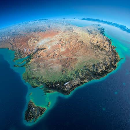 topografia: Planeta Tierra altamente detallado en la mañana exageró el alivio precisa mañana iluminada dom detallada de la tierra de Australia y Tasmania Foto de archivo