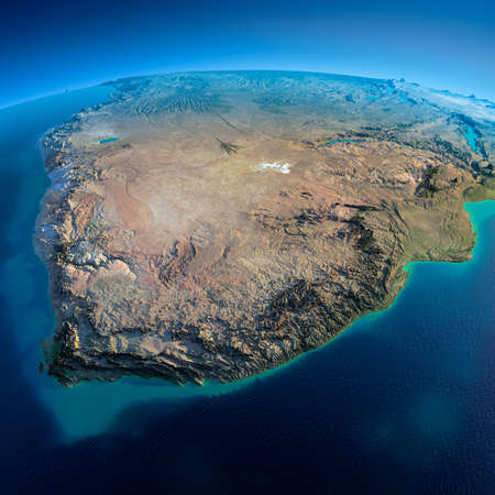 gabon: Highly detailed planet Earth in the morning  Exaggerated precise relief lit morning sun  Detailed Earth  South Africa  Stock Photo