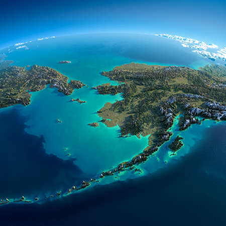 strait: Highly detailed planet Earth in the morning  Exaggerated precise relief lit morning sun  Detailed Earth  Chukotka, Alaska and the Bering Strait