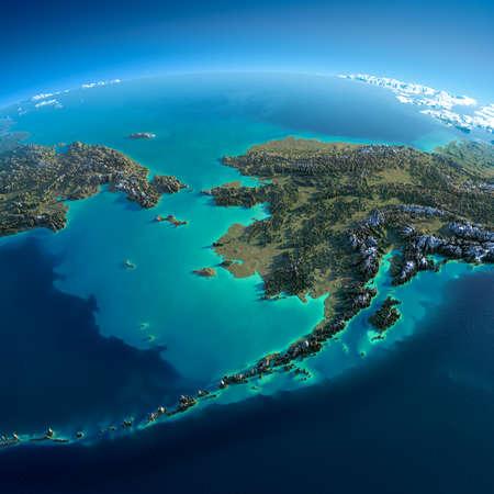 Zeer gedetailleerde planeet Aarde 's morgens Overdreven precieze verlichting verlicht ochtendzon Gedetailleerde Earth Chukotka, Alaska en de Beringstraat Stockfoto