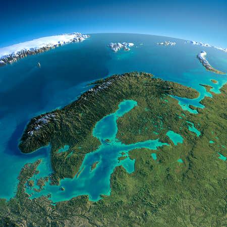 非常に詳細な惑星地球朝誇張された正確な救済で点灯朝太陽の詳細な地球ヨーロッパ スカンジナビア