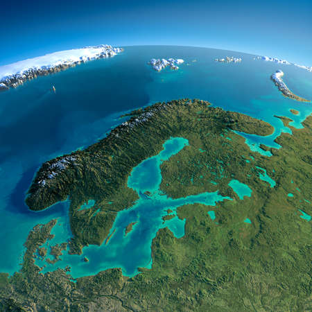Highly detailed planet Earth in the morning  Exaggerated precise relief lit morning sun  Detailed Earth  Europe  Scandinavia