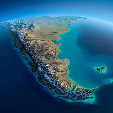 carte: Planète Terre très détaillée dans la matinée exagéré de redressement précise soleil éclairait matin détaillée de la Terre en Amérique du Sud Tierra del Fuego Banque d'images