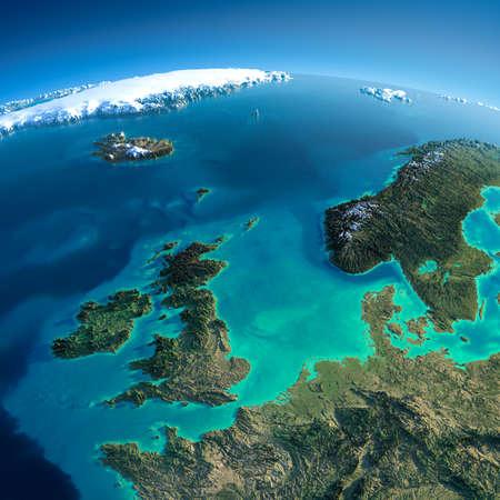 Sehr detaillierte Planeten Erde in den Morgen übertrieben präzise Entlastung Morgensonne beleuchtet Detaillierte Erde Großbritannien und in der Nordsee Standard-Bild