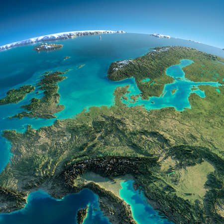 Highly detailed planet Earth in the morning  Exaggerated precise relief lit morning sun  Detailed Earth  Central Europe
