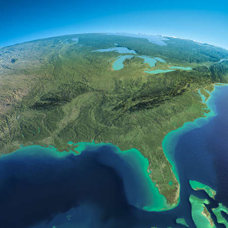 exaggerated: Highly detailed planet Earth in the morning  Exaggerated precise relief lit morning sun  Detailed Earth  Gulf of Mexico and Florida    Stock Photo