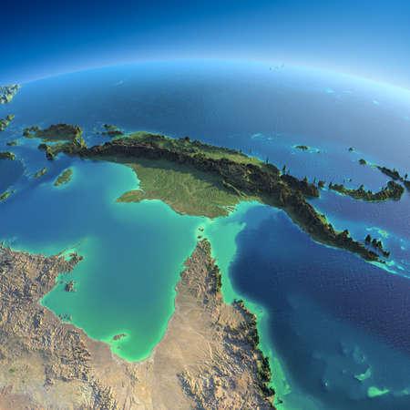 朝は誇張された正確な救済点灯している朝の太陽の詳細な地球オーストラリアとパプア ニューギニアの惑星地球を非常に詳細な
