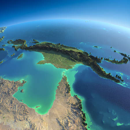 Highly detailed planet Earth in the morning  Exaggerated precise relief lit morning sun  Detailed Earth  Australia and Papua New Guinea