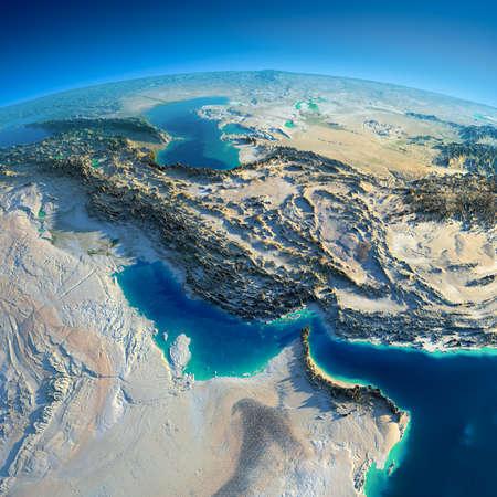 非常に詳細な地球朝誇張された正確な救済で点灯朝日ペルシャ湾