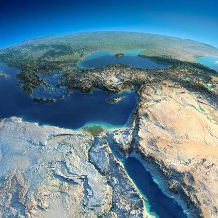 El planeta Tierra altamente detallado en la mañana exagerado alivio precisa iluminado sol de la mañana de África y Oriente Medio Foto de archivo