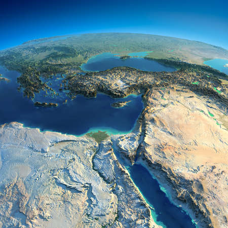Sehr detaillierte Planeten Erde in den Morgen übertrieben präzise Relief beleuchtet Morgensonne Afrika und Naher Osten Standard-Bild