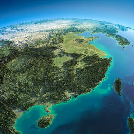 exaggerated: Highly detailed planet Earth in the morning  Exaggerated precise relief lit morning sun  Eastern China and Taiwan   Stock Photo