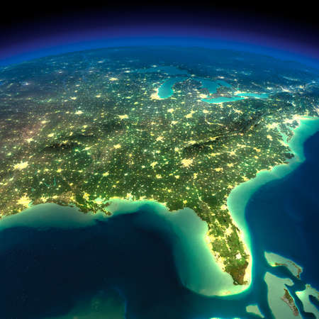 Highly detailed Earth, illuminated by moonlight  The glow of cities sheds light on the detailed exaggerated terrain  Night Earth  Gulf of Mexico and Florida