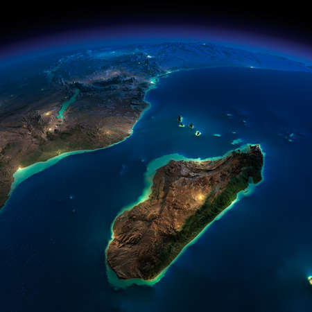 uganda: Highly detailed Earth, illuminated by moonlight  The glow of cities sheds light on the detailed exaggerated terrain  Night Earth  Africa and Madagascar  Elements of this image furnished by NASA