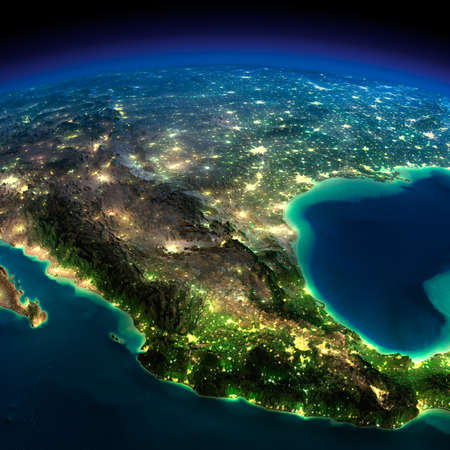 Highly detailed Earth, illuminated by moonlight  The glow of cities sheds light on the detailed exaggerated terrain  North America  Mexico   photo