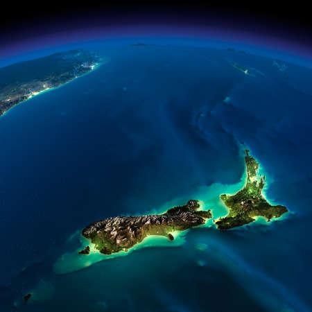 詳細な誇張された地形上の夜の地球の太平洋 - ニュージーランドの都市の小屋光の輝き月明かりに照らされた非常に詳細な地球