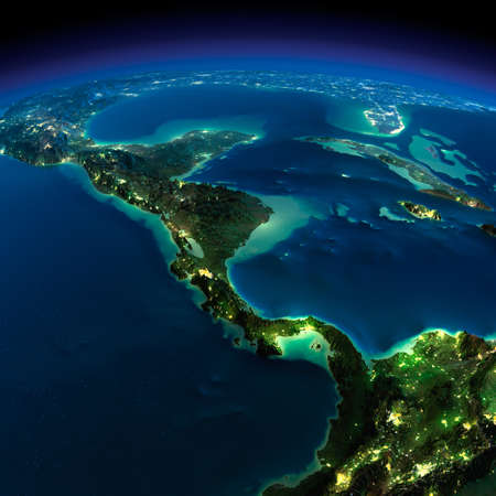 Highly detailed Earth, illuminated by moonlight The glow of cities sheds light on the detailed exaggerated terrain Night The countries of Central America
