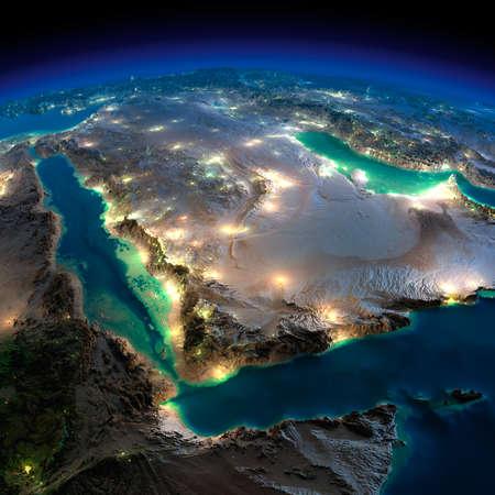 詳細な誇張された地形の夜の地球のサウジアラビアの都市の小屋光の輝き月明かりに照らされた非常に詳細な地球