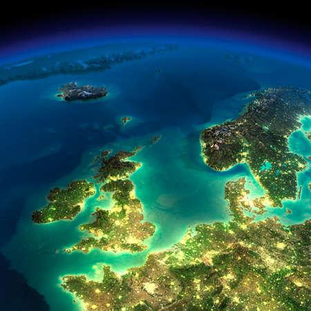 詳細な誇張された地形の夜イギリスの都市の小屋光と北の海の輝き月明かりに照らされた非常に詳細な地球