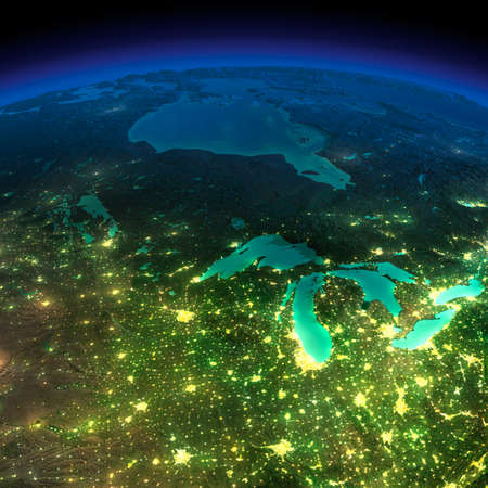 Highly detailed Earth, illuminated by moonlight  The glow of cities sheds light on the detailed exaggerated terrain  Northern U S  states and Canada