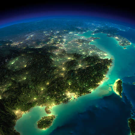 Highly detailed Earth, illuminated by moonlight  The glow of cities sheds light on the detailed exaggerated terrain  Night Earth  Eastern China and Taiwan