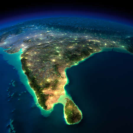 moonlight: Highly detailed Earth, illuminated by moonlight. The glow of cities sheds light on the detailed exaggerated terrain. Night Earth. India and Sri Lanka.