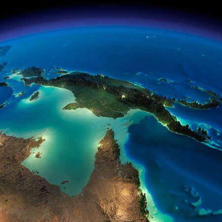 Zeer gedetailleerde aarde, verlicht door het maanlicht. De gloed van steden werpt licht op de gedetailleerde overdreven terrein en doorzichtige water van de oceanen. Nacht van de Aarde. Australië en Papoea-Nieuw-Guinea. Stockfoto