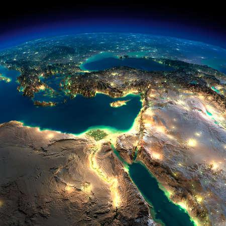 Zeer gedetailleerde aarde, verlicht door het maanlicht. De gloed van steden werpt licht op de gedetailleerde overdreven terrein. Nacht van de Aarde. Afrika en het Midden-Oosten. Stockfoto