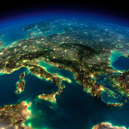 Sehr detaillierte Erde, vom Mondlicht beleuchtet. Das Leuchten der Städte beleuchtet die übertrieben detaillierte Gelände. Ein Stück Europa - Italien und Griechenland. Elemente dieses Bildes von der NASA eingerichtet
