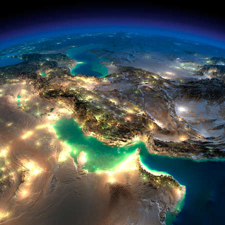 Highly detailed Earth, illuminated by moonlight. The glow of cities sheds light on the detailed exaggerated terrain and translucent water of the oceans. Night Earth. Persian Gulf.
