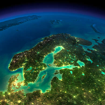 Highly detailed Earth, illuminated by moonlight. The glow of cities sheds light on the detailed exaggerated terrain. Night Earth. Europe. Scandinavia.