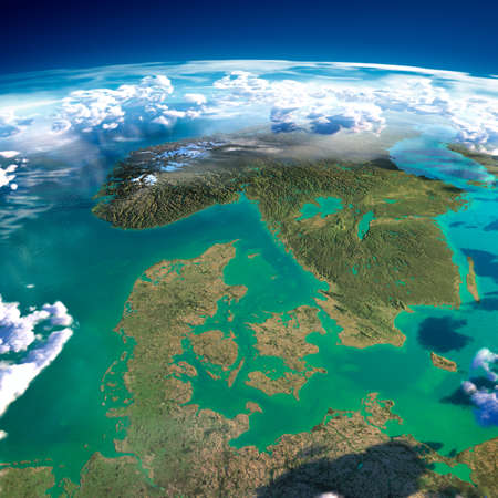 map sweden: Highly detailed fragments of the planet Earth with exaggerated relief, translucent ocean, illuminated by the morning sun  Denmark, Sweden and Norway